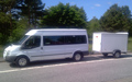 14-seater Ford Transit with trailer